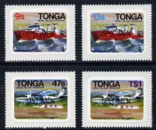 Tonga 1982 Inter-Island Transport (Plane & Ship) self-adhesive set of 4 opt'd SPECIMEN, as SG 813-16 (blocks or gutter pairs with Map pro rata) unmounted mint, stamps on aviation, stamps on maps, stamps on ships, stamps on transport, stamps on self adhesive