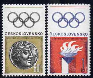 Czechoslovakia 1966 Olympic Committee 70th Anniversary set of 2 unmounted mint, SG1599-1600