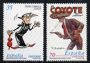 Spain 1999 Comic Strip Characters (Dona Urraca & El Coyote) set of 2 unmounted mint, SG3579-80, stamps on , stamps on  stamps on literature, stamps on  stamps on cartoons, stamps on  stamps on umbrellas, stamps on  stamps on militaria