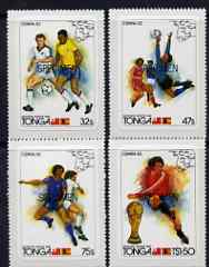 Tonga 1982 World Cup Football self-adhesive set of 4 opt'd SPECIMEN, as SG 809-12 (blocks or gutter pairs pro rata) unmounted mint