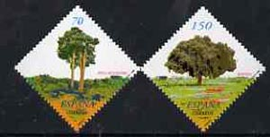 Spain 2000 Trees (1st series) - Wild Pine & Holm Oak - diamond shaped set of 2 unmounted mint, SG 3656-57