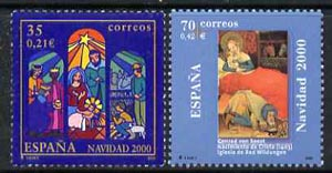 Spain 2000 Christmas set of 2  unmounted mint, SG3704-05