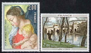 France 1977 French Art set of 2 (Rubens & Corot)  unmounted mint, SG2159-60