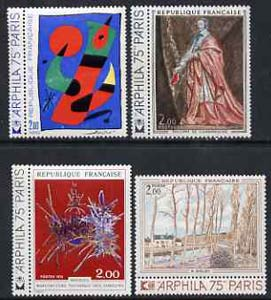France 1974 'Arphila 75' Stamp Exhibition - French Art set of 4 with narrow tabs unmounted mint, SG2033-36