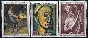 France 1971 French Art set of 3 unmounted mint, SG1908-1910