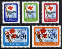 Tonga 1981 International Year of the Disabled self-adhesive set of 5 opt'd SPECIMEN, as SG 780-84 (blocks or gutter pairs with Red Cross pro rata) unmounted mint
