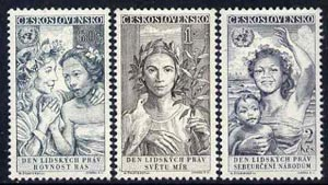 Czechoslovakia 1959 Declaration of Human Rights 10th Anniversary set of 3 unmounted mint, SG1081-83