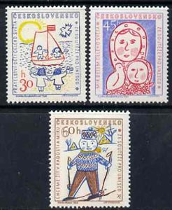 Czechoslovakia 1958 inauguration of UNESCO HQ set of 3 children's paintings unmounted mint, SG1063-65
