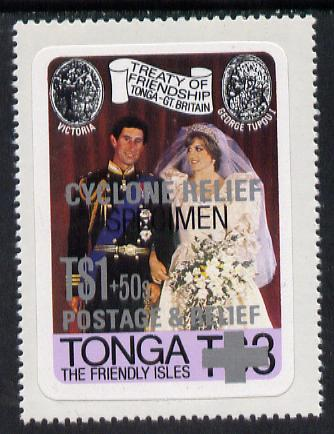 Tonga 1982 Cyclone Relief opt on self-adhesive R Wedding opt'd SPECIMEN, as SG 808 (gutter pairs pro rata) unmounted mint