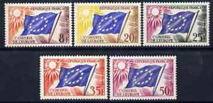 France - Council of Europe 1958 Council Flag set of 5 unmounted mint, SG C2-C6, stamps on flags