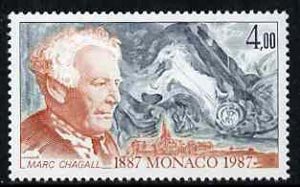 Monaco 1987 Marc Chagall 4f from Anniversaries set unmounted mint, SG1845
