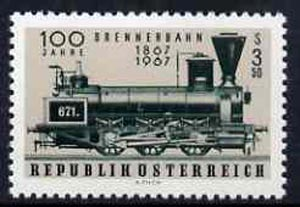 Austria 1967 Centenary of Brenner Railway unmounted mint, SG 1505