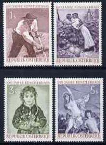 Austria 1961 Cent of Kunstlerhaus set of 4 unmounted mint, SG1365-68, stamps on arts, stamps on mythology, stamps on ariadne