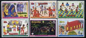 Anguilla 1978 Christmas set of Childrens paintings unmounted mint, SG 331-36, stamps on arts, stamps on christmas