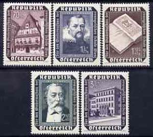 Austria 1953 Vienna Evangelical `school `rebuilding Fund set unmounted mint, SG 1246-50