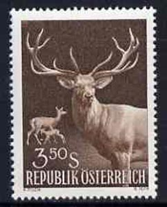 Austria 1959 Red Deer Family 3s 50 brown unmounted mint, from Int Hunting Congress set,  SG1341