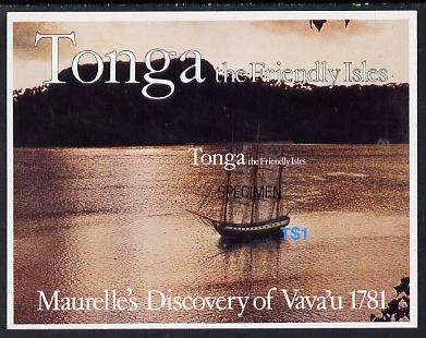 Tonga 1981 Maurelle's Discovery Anniversary self-adhesive m/sheet opt'd SPECIMEN, as SG MS 797 unmounted mint