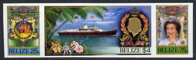 Belize 1985 Royal Visit se-tenant strip of 3 in Cromalin (plastic coated proof) as issued stamps (SG 862a)