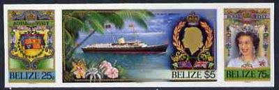 Belize 1985 Royal Visit se-tenant strip of 3 in Cromalin (plastic coated proof) similar to issued stamps except the Britannia stamp is valued $5 and each stamp shows desi...