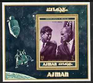 Ajman 2000? Kennedy & John Glenn perf m/sheet (10r) unmounted mint