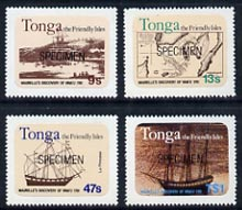 Tonga 1981 Maurelle's Discovery Anniversary self-adhesive set of 4 opt'd SPECIMEN unmounted mint as SG 793-96