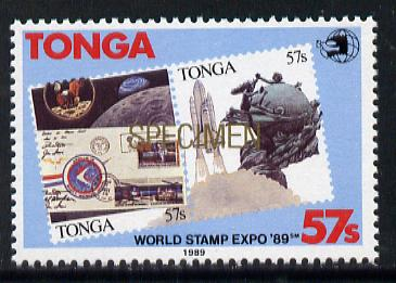Tonga 1989 World Stamp EXPO 89 57s value opt'd SPECIMEN in gold unmounted mint, as SG 1064