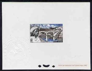 Madagascar 1952 Antsirabe Viaduct 100f epreuve de luxe sheet in issued colours, as SG326