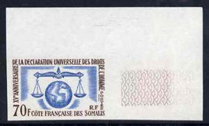 French Somali Coast 1963 Human Rights 70f marginal imperf single unmounted mint, as SG474