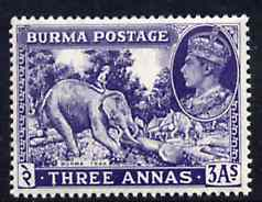 Burma 1946 Elephant & Teak 3a blue-violet unmounted mint, SG 57a*, stamps on , stamps on  kg6 , stamps on elephants, stamps on teak, stamps on wood, stamps on timber