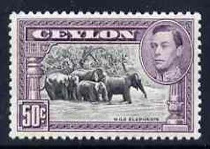 Ceylon 1938-49 KG6 Elephants 50c Perf 12 unmounted mint, SG 394e