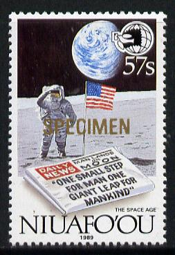 Tonga - Niuafo'ou 1989 EXPO '89 Stamp Exhibition opt'd SPECIMEN in gold (Man on Moon & Newspaper) unmounted mint, as SG 131