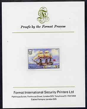 Tuvalu 1986 Ships #3 Full-rigged Duff 50c imperf proof mounted on Format International proof card, as SG 379