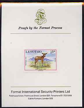 Lesotho 1984 Eland Calf 15s (from Baby Animals issue) imperf proof mounted on Format International proof card, as SG 611