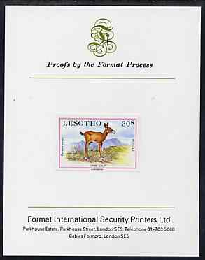 Lesotho 1984 Oribi Calf 30s (from Baby Animals issue) imperf proof mounted on Format International proof card, as SG 613