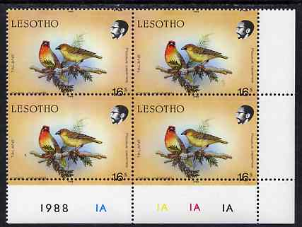 Lesotho 1988 Birds 16s Cape Weaver with horiz perfs shifted (date at top of stamp) SG 796var unmounted mint plate block of 4 from bottom right of sheet showing perfs passing through value and additional date in lower margin