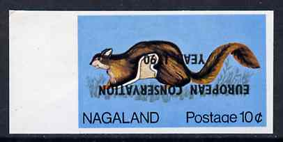 Nagaland 1970 European Conservation Year opt INVERTED on 1969 Squirrel 10c imperf unmounted mint*