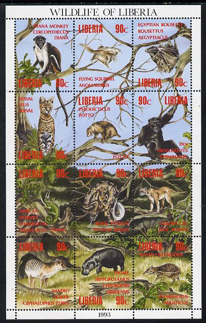 Liberia 1993 Wildlife of Liberia perf sheetlet containing 12 values unmounted mint