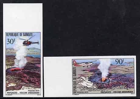 Djibouti 1979 Volcanoes set of 2 imperf marginals from limited printing unmounted mint as SG 755-56