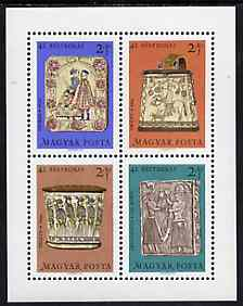 Hungary 1969 Stamp Day - Folk Art Wood Carvings perf m/sheet unmounted mint SG MS2475, stamps on postal, stamps on arts, stamps on wood, stamps on carvings, stamps on