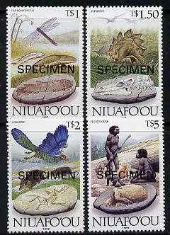 Tonga - Niuafo'ou 1989 Evolution of the Earth 4 values showing Dinosaurs, fossils etc, opt'd SPECIMEN, SG 127-30 unmounted mint