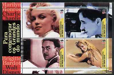 Timor 2004 Film Stars perf sheetlet containing 4 values (Marilyn, Chaplin, Disney & Brigitte Bardot) unmounted mint