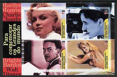Timor 2004 Film Stars imperf sheetlet containing 4 values (Marilyn, Chaplin, Disney & Brigitte Bardot) unmounted mint