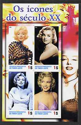 Timor 2004 Icons of the 20th Century - Marilyn Monroe #01 imperf sheetlet containing 4 values unmounted mint