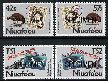 Tonga - Niuafo'ou 1988 Anniversary of First Stamp & New Airport set of 4 opt'd SPECIMEN (Map stamp, Concorde etc), as SG 103-06 unmounted mint