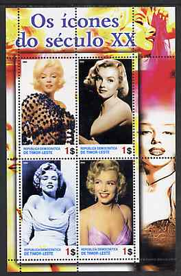 Timor 2004 Icons of the 20th Century - Marilyn Monroe #01 perf sheetlet containing 4 values unmounted mint, stamps on films, stamps on cinema, stamps on entertainments, stamps on marilyn, stamps on monroe, stamps on women, stamps on music, stamps on personalities