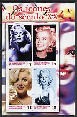 Timor 2004 Icons of the 20th Century - Marilyn Monroe #02 imperf sheetlet containing 4 values unmounted mint