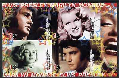 Timor 2004 Elvis Presley & Marilyn Monroe #01 imperf sheetlet containing 4 values unmounted mint