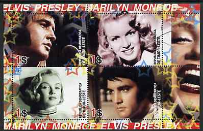 Timor 2004 Elvis Presley & Marilyn Monroe #01 perf sheetlet containing 4 values unmounted mint