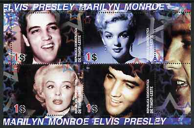 Timor 2004 Elvis Presley & Marilyn Monroe #02 perf sheetlet containing 4 values unmounted mint