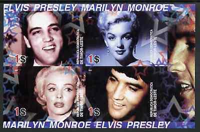 Timor 2004 Elvis Presley & Marilyn Monroe #02 imperf sheetlet containing 4 values unmounted mint
